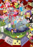 Many children playing in a courtyard playground. Colorful children illustration, raster illustration Stock Photos