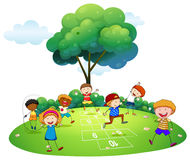 Many children playing hopscotch in the park Stock Photo