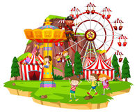 Many children playing rides at funpark Royalty Free Stock Images