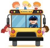 Many children riding school bus. Illustration Royalty Free Stock Photos