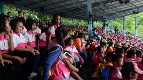 Many children sitting on stand in Bangkok, Thailand stock video