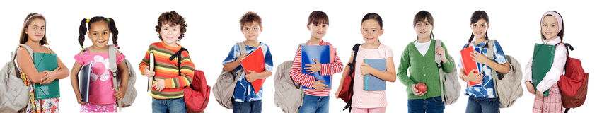 Many children students returning to school royalty free stock images