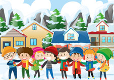 Many children in winter Royalty Free Stock Images