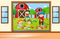 Many children working in the garden. Illustration vector illustration