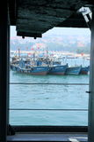 Many Chinese fishing boat Royalty Free Stock Photo