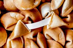 Many Chinese fortune cookie paper with prediction. Many Chinese fortune cookie close up paper with prediction filling the entire frame stock photography