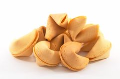 Many Chinese fortune cookies. Stacked up, on white background Royalty Free Stock Photos