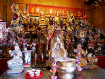 Many chinese god and angel statue in Chinese joss house at Chine Royalty Free Stock Photo