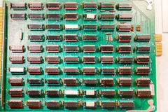 Many chips mounted on electronic plate Stock Photography