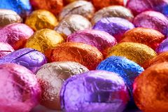 Chocolate easter eggs wrapped in foil Royalty Free Stock Photo