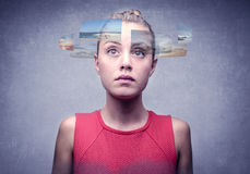 Many choices. A girl has many different choices to make royalty free stock images