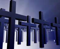 Many christian crosses. Many christian church crosses in group,  religious illustration Stock Image