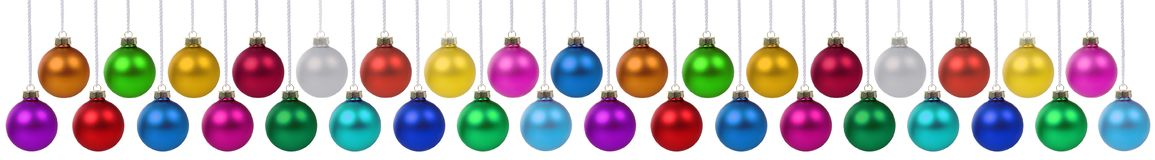 Free Many Christmas Balls Baubles Banner Hanging Collection Isolated On White Royalty Free Stock Photos - 161172988