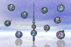 Many Christmas Balls in snow. Many Christmas Balls with shiny reflection on ice Royalty Free Stock Image