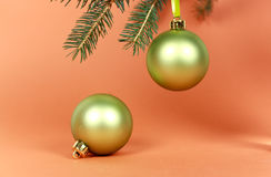 Many Christmas decorations-ball with pine branches Royalty Free Stock Images