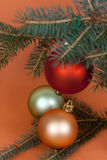 Many Christmas decorations-ball with pine branches Stock Photos