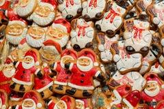 Many Christmas decorations on market Stock Photo