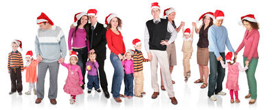 Many Christmas Family With Children Royalty Free Stock Photo