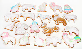 Many Christmas figure cookies on white background Royalty Free Stock Photography