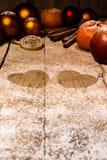 Many christmas fruits and sugar hearts Stock Photography