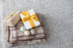 Many Christmas gifts Plaid new year Royalty Free Stock Image