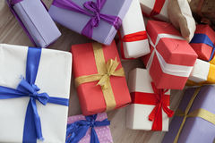 Many Christmas gifts Plaid new year Stock Photography