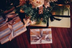 Many christmas gifts under fir tree close up. Holiday composition Royalty Free Stock Images