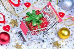 Many Christmas objects on table Royalty Free Stock Images