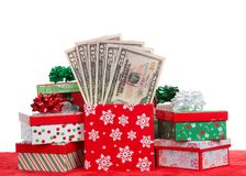 Many Christmas Presents Stuffed With Money Isolated On White Stock Image