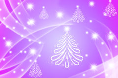 Many Christmas trees drawn with lens flare and Stock Images