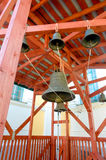 Many church bells in old building inside the Zaraysk Kremlin wall in  town. The  hanging down from red wooden beams on Royalty Free Stock Photos