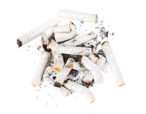 Many cigarette ends isolated Royalty Free Stock Photo