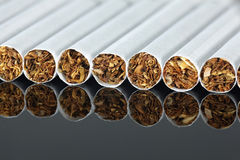 Many cigarettes in raw Royalty Free Stock Photography