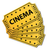 Many cinema tickets. Many vintage cinema tickets  on white background Royalty Free Stock Image