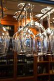 Many clean glasses for wine indoors Royalty Free Stock Image
