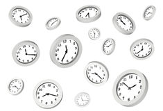 Many clocks. Represent dreaming or illusion vector illustration