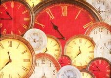 Many clocks filling background Stock Photo