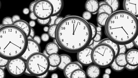 Many Clocks flying in Time-lapse in 3D animation. Time Concept Footage. HD 1080. Looped