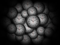 Many Clocks randomly distributed Royalty Free Stock Photos