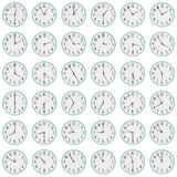 Many clocks show different time on the dials Stock Photo