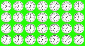 Many clocks, time to wake up for breakfast, modern white metalli Royalty Free Stock Image