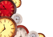 Many clocks on a white background Royalty Free Stock Photo