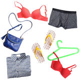 Many clothes and accessories on white background Stock Photography