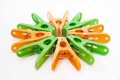 Many clothes pegs Royalty Free Stock Image