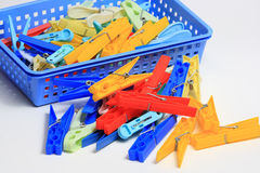 Many clothespins Stock Photo