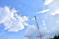 Many clouds in the bright blue sky. Royalty Free Stock Image