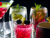 Many cocktails at the nightclub Royalty Free Stock Images