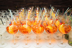 Many cocktails at a party. Beautiful delicious cocktails at a party, multi-colored soft drinks Stock Images