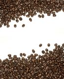 Many coffee beans on white background Royalty Free Stock Photos