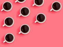 Many coffee cups. Collection of coffee cups overhead view flat lay vector illustration
